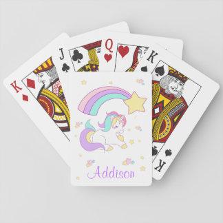 Cute Custom Personalized Magical Rainbow Unicorn Playing Cards
