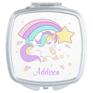 Cute Custom Personalized Magical Rainbow Unicorn Vanity Mirror