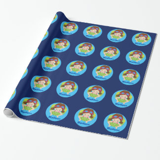 Cute Custom Swim Girl Wrapping Paper