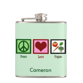 Cute Custom Vegan Green Hip Flask