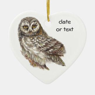 Cute Custom Watercolor Owl, Bird, Garden, Nature Ceramic Heart Decoration