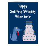 Cute Customisable Dog & Cake Sobriety Birthday Cards