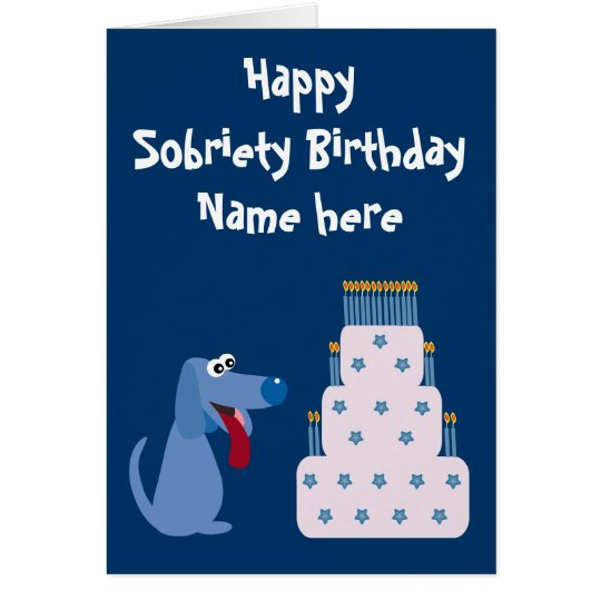 Cute Customisable Dog & Cake Sobriety Birthday Card
