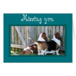 """Cute Customisable """"Missing You"""" Card w/Bassets"""