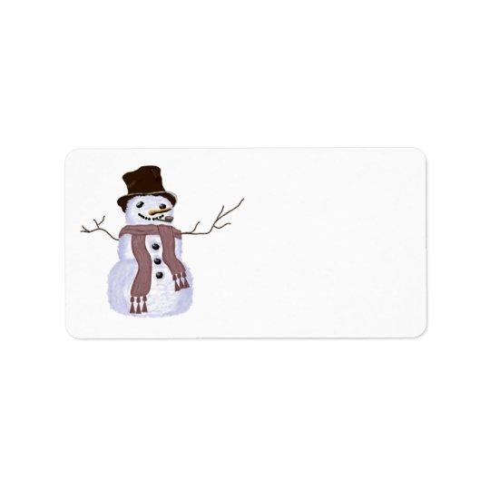Cute Customisable Winter Snowman Label
