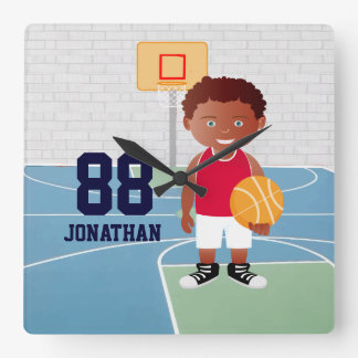 Cute customizable Basketball Square Wall Clock