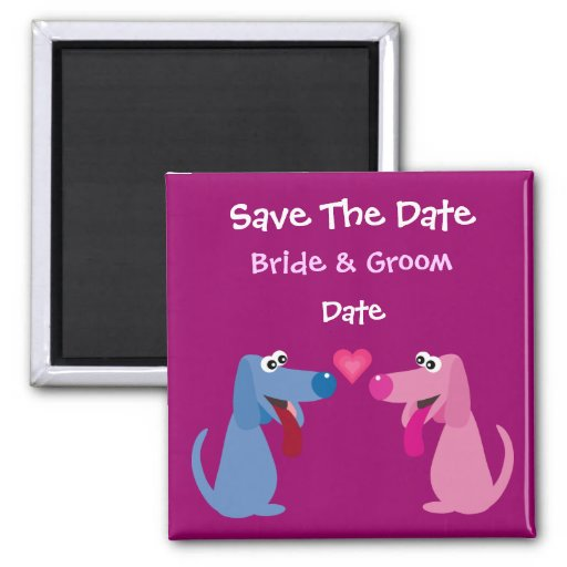 Cute Customizable Bride & Groom Dogs Save The Date Magnet