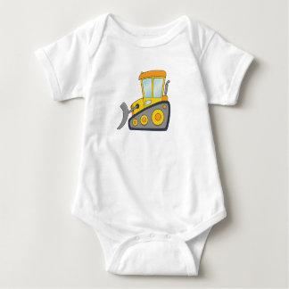 Cute Customizable Bulldozer Baby Bodysuit