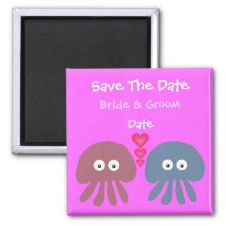 Cute Customizable Cartoon Jellyfish Save The Date Fridge Magnets