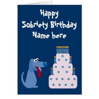 Cute Customizable Dog Cake Sobriety Birthday Cards
