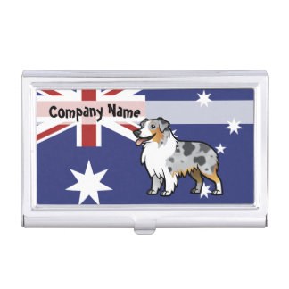 Cute Customizable Pet on Country Flag Business Card Holders