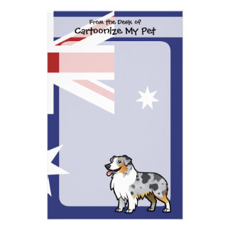 Cute Customizable Pet on Country Flag Custom Stationery