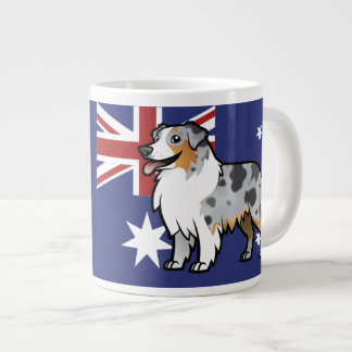 Cute Customizable Pet on Country Flag Large Coffee Mug