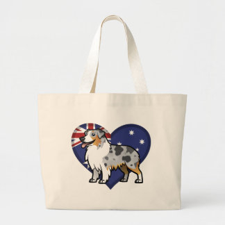 Cute Customizable Pet on Country Flag Large Tote Bag