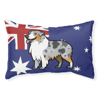 Cute Customizable Pet on Country Flag Pet Bed