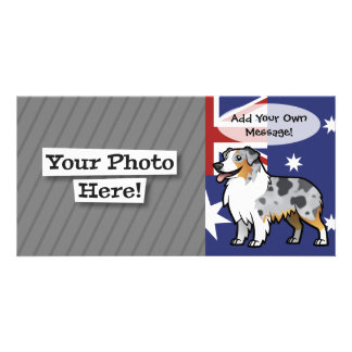 Cute Customizable Pet on Country Flag Photo Cards