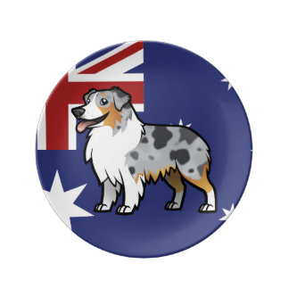 Cute Customizable Pet on Country Flag Plate