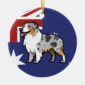Cute Customizable Pet on Country Flag Round Ceramic Decoration