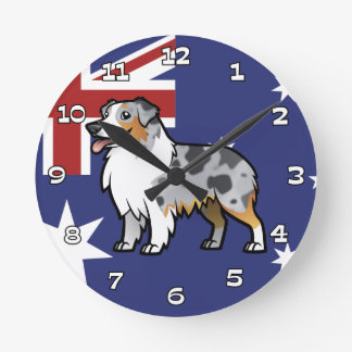 Cute Customizable Pet on Country Flag Round Clock