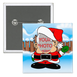 Cute Customizable Photo Santa's little helper 15 Cm Square Badge