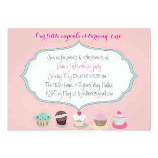Cute customized birthday invitation with cupcakes