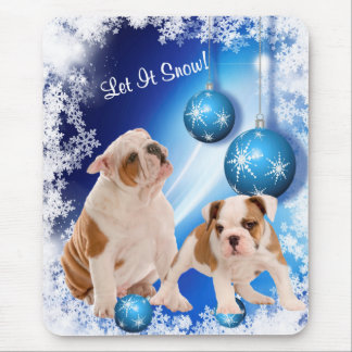 Cute, cute, cute! Bulldog Puppy Let It Snow Design Mouse Pad