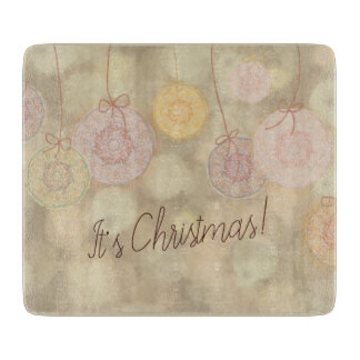 Cute cutout Christmas decorations gleaming gold Cutting Board
