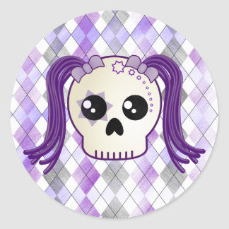 Cute Cyberpunk Emo Skull and Crossbones on Argyle Classic Round Sticker