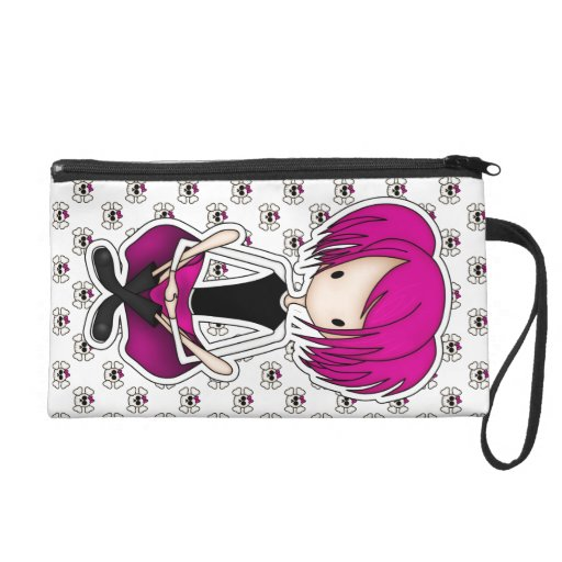 Cute Cyberpunk Goth Girl with Cerise Pink Hair Wristlet Clutches