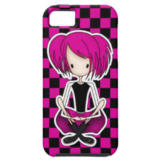 Cute Cyberpunk Goth Girl with Cerise Pink Hair iPhone 5 Cover
