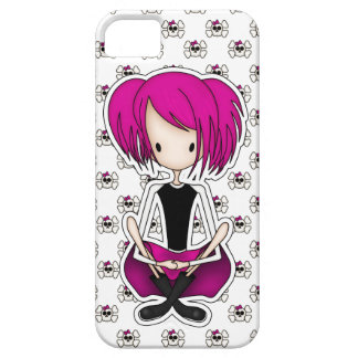 Cute Cyberpunk Goth Girl with Cerise Pink Hair iPhone 5 Covers