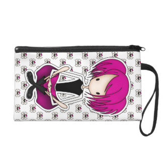 Cute Cyberpunk Goth Girl with Cerise Pink Hair Wristlet Purses