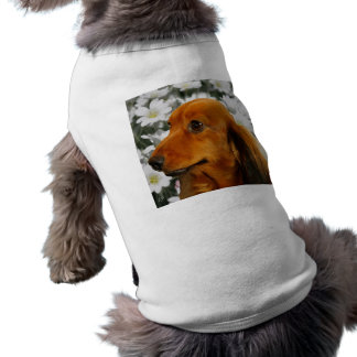 Cute Dachshund (Brown Long Haired) in Flowers Doggie T-shirt