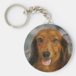 Cute Dachshund (Brown Long Haired) Wild Flowers Basic Round Button Key Ring