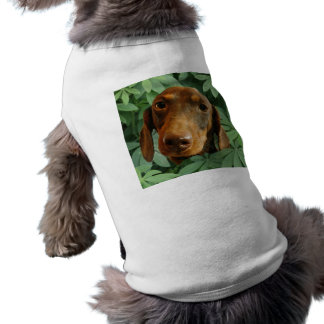 Cute Dachshund (Brown Short Haired) Green Leaves Dog Clothing