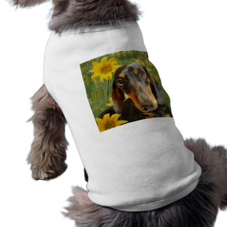 Cute Dachshund (Brown Short Haired) in Sunflowers Dog T Shirt