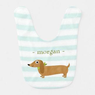Cute Dachshund Dog with Mint Stripes Bib