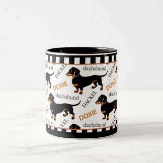 Cute Dachshund Doxie Black and Tan Pattern Two-Tone Coffee Mug