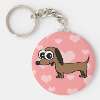 Cute Dachshund Keychain - Pink