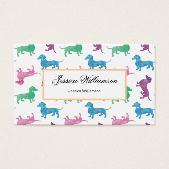 Cute Dachshund Pastel Coloured Dog Walker Business Card