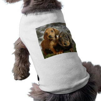 Cute Dachshund Puppies (Brown/Black) Sleeveless Dog Shirt