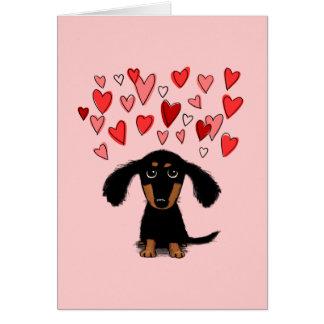 Cute Dachshund Puppy Valentine Greeting Card