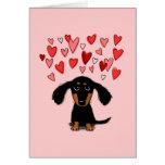Cute Dachshund Puppy Valentine Greeting Cards