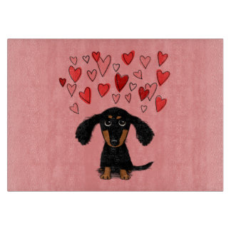 Cute Dachshund Puppy with Valentine Hearts Cutting Board