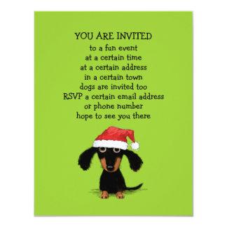 Cute Dachshund Santa Clause Christmas Party 11 Cm X 14 Cm Invitation Card