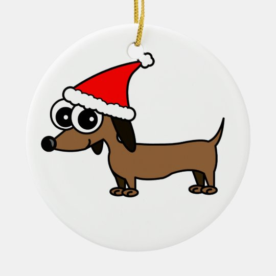 Cute Dachshund Santa Hat - Customisable! Christmas Ornament