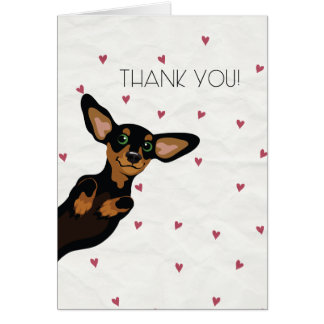 Cute Dachshund thank you card with hearts