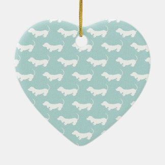 Cute Dachshund White Silhouettes on light blue Ceramic Heart Decoration