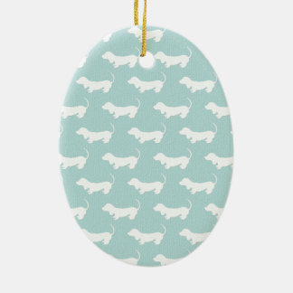 Cute Dachshund White Silhouettes on light blue Ceramic Oval Decoration