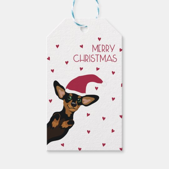 Cute Dachshund with Santa hat and heart background